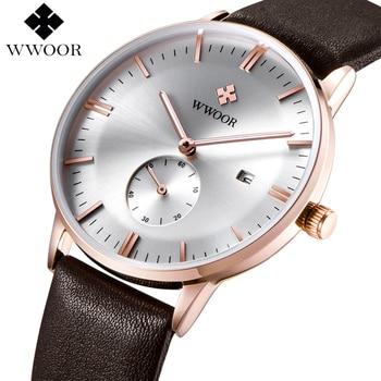 Marca de lujo Ultra delgada Fecha Hombres Reloj de Cuarzo de Cuero Genuino reloj de Oro Rosa Casual Deportes Relojes Hombres Reloj de pulsera Relogio masculino