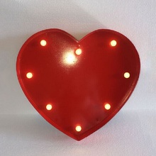 HEART shape Marqueen letter led lights, Height 33cm(12'')  Thickness 4.8cm, White/Black/Red ABS Advertisement Signs Battery lamp