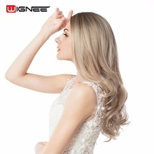 Wignee Ombre Wig Brown Blonde High Density Temperature Synthetic Wig Body Wave Cosplay Hair Halloween Wig For Black/White Women(China)
