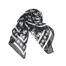 AASS Hot Black Chiffon Silk Skull Print Long Scarf Shawl For Women + Keyring(China)