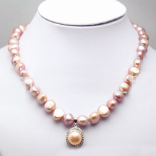 Natural pearl purple freshwater pearl necklace baroque short round irregular pearl necklace 43-45cm 1pc