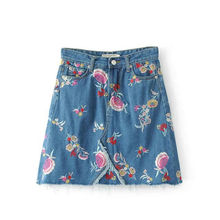 CK441 Flower Embroidery A line Knee Length Women Summer Skirt Fashion New Stylish Good Quality Denim Skirts Womens 2017 Wear