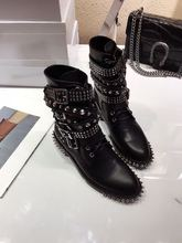 Studded women Spring Autumn boots round toe rivet&buckle decoration lace-up women ankle boots designer boots black grey