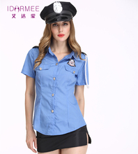 IDARMEE 3 Pcs New Ladies Officer Uniform Sexy Costume Cop Cosplay Sexy Police Costumes for Women S9049(China)