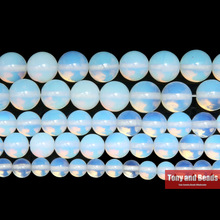 "Free Shipping Natural Stone Smooth White Opalite Quartz Loose Beads 15"" Strand 4 6 8 10 12 14MM Pick Size For Jewelry Making Q3"