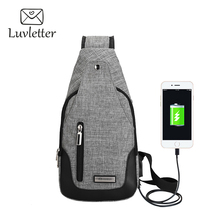 Luvletter USB Charge Chest Bag Small beam Shoulder Bag Unisex External Charge Handbag School Bag For Boys and Girls(China)