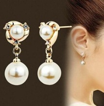 Hypoallergenic luxury fashion wild high-quality imitation Rhinestones imitation pearl jewelry long earrings for women