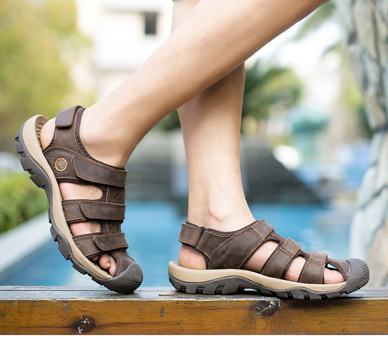 Summer Man Sandals Beach Shoes 2018 High Quality Genuine Leather Prevent Slippery Wear-resisting Outdoor Sandals Large Size 46 22 Online shopping Bangladesh