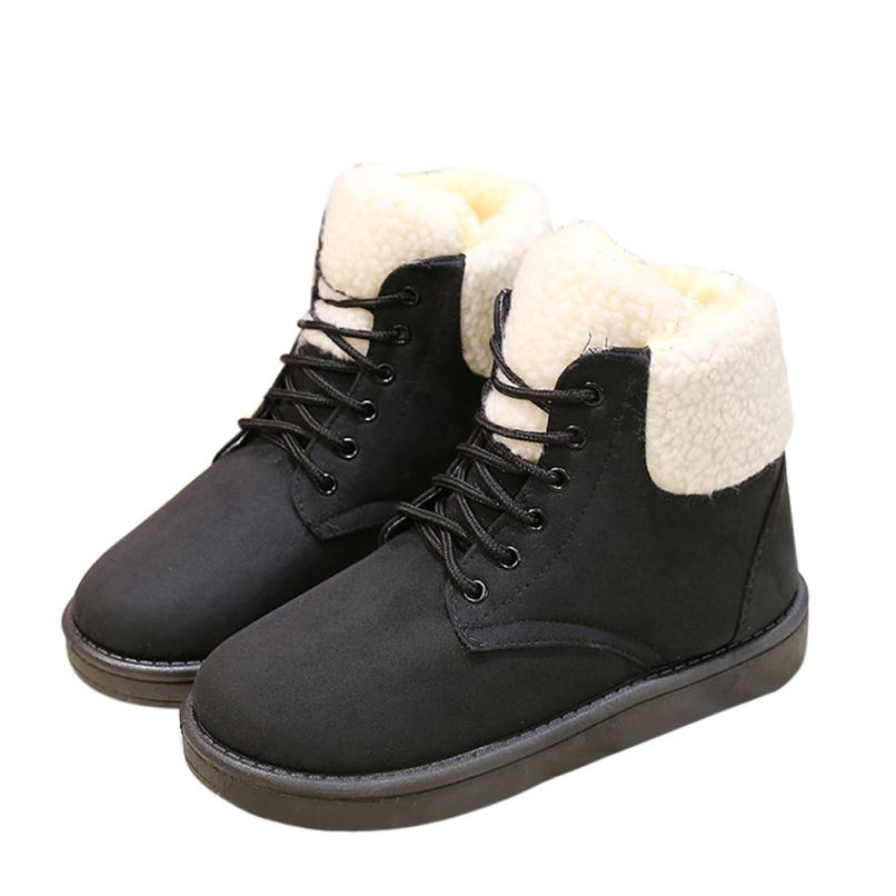 Fashion Ladies Women Boots Ankle Lace Up Fur Lined Winter Warm Snow Shoes Best Gift Drop Shipping Dec26<br><br>Aliexpress