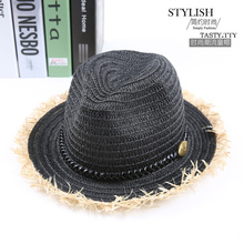 Straw Fedoras Hat for Children Panama Fedora Summer Style Beach Sun Jazz Cap Kids Cowboy Sun Hat