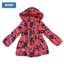 baby winter outerwear 2015 Moomin Fashion Polyester zipper pocket pocket red parka cotton winter parka girls