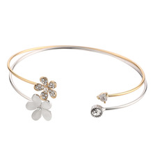Wholesale 2 pcs/set Crystal Flowers Bangles,Silver/Gold Color CZ Bracelet For Women/Girls,USA Europe Jewelry Best Gifts#002701(China)