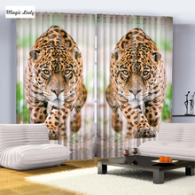 Curtains Tiger  Leopard African Safari Enchanted Forest Cat Nature Jungle Bedroom Living Kids Room 2 Panels Beige Yellow Black