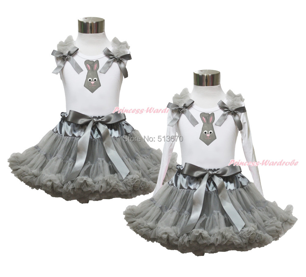 Easter Gray Bunny Neckerchief White Top Shirt Girl Pettiskirt Outfit Set 1-8Year MAPSA0414<br>