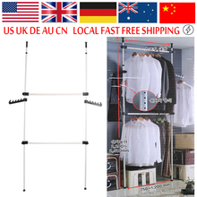 2 4 Poles Heavy-Duty Adjustable Home Garment Hanger Clothes Rack Simple Closet Wardrobe Bedroom