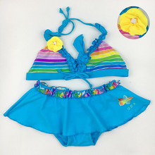 Love children's swimwear falbala baby swimsuit girl biquini infantil menina 2017 New summer beach wear girls swimsuit Bikini Set