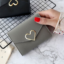 Simple Fashion Women Coin Purse Leather Solid Color Vintage Short Wallet Heart Hasp Ladies Girls Card Holder Clutch Bag