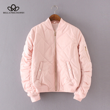 Bella Philosophy 2017 quilting bomber jacket women coat fashion zipper long sleeve winter jacket cotton-padded pink outwears(China)