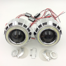 2.5inch Double COB Angel Eyes Bi-xenon HID Projector headlight Lens LHD RHD use bulb H1 with H4 H7 adapter car styling