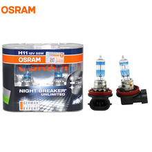 OSRAM H11 3600K NIGHT BREAKER UNLIMITED 12V 55W Headlight Hi/Low Bulbs 64211NBU 20% Whiter 40m Longer Beam 110% More Light Lamps