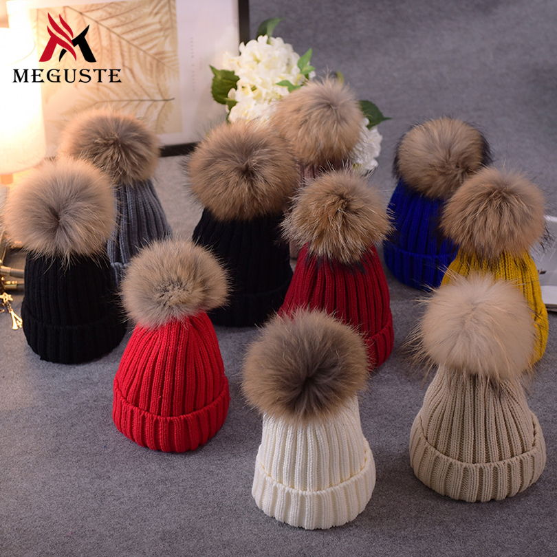 Mink and fox fur ball cap poms winter hat for women girl s wool hat knitted cotton beanies cap brand new thick female capОдежда и ак�е��уары<br><br><br>Aliexpress