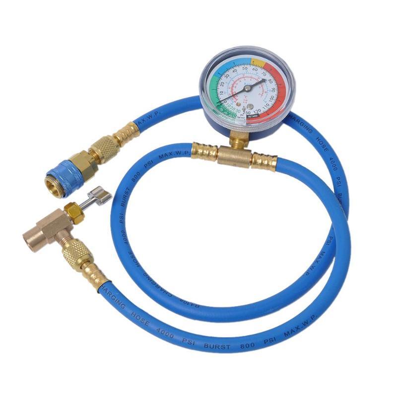 R134a Kit de recarga de manguera de medici/ón de refrigerante de aire acondicionado con indicador