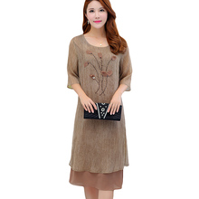 New Plus Size 5XL Summer Women Dresses Vintage Elegant Female Loose Diamonds Dress Chiffon Ruffles Dress YP0053