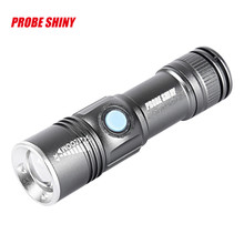 PROBE SHINY USB Handy Powerful LED Flashlight Rechargeable Torch usb Flash Light Bike Pocket LED Zoomable Lamp For Hunting