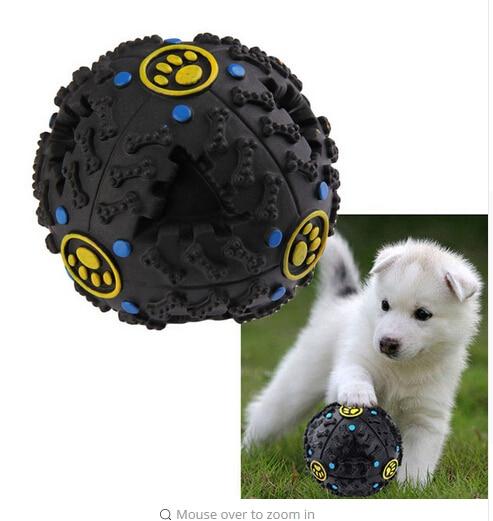 1pcs pet dog cat food dispenser squeaky giggle quack sound training toy chew ball uk