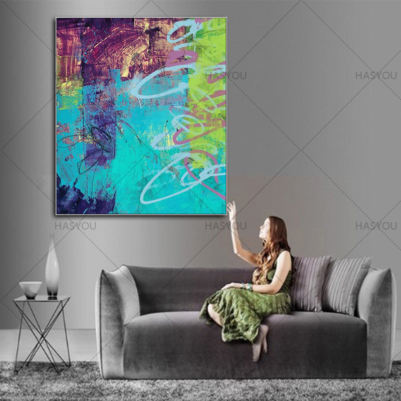Modern Abstract Art Painting On Canvas Perfect Blue Art Wall Art Painting For Home Decoration 100% Handmade on Canvas unFramed(China)