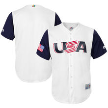 MLB Youth USA Baseball Baseball White/Navy 2017 World Baseball Classic Cool Base Replica Team Jersey(China)