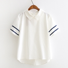 Women Peter Pan Collar Navy Style White Blouse Front Short Back Long Top Femme Ete Zip Short Sleeve Stripe Summer Women Shirts