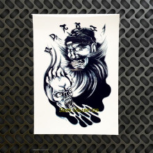 1PC Inspired Warrior Fake Flash Black Temporary Tattoo Stickers Knight GAQ-H853 Skull Head Armband Tattoo Arm Shoulder Chest Leg
