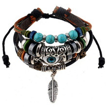 Retro rope Adjustable Leather men Multilevel Feather eyes bracelets rope hand woven bracelet for women braided Jewelry