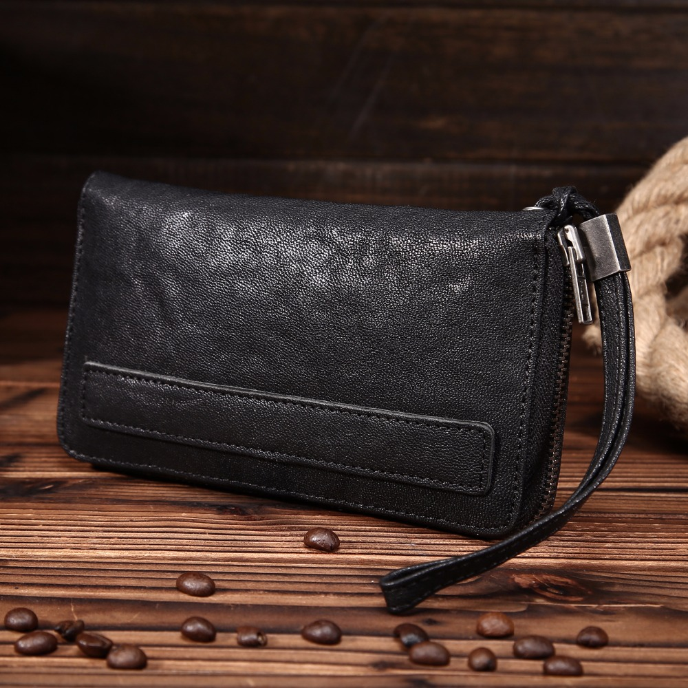 Brand Genuine Genuine Real Leather Men Wallets Business Card holder Coin Purse Mens Long Zipper Wallet Leather Clutch YP5006<br>