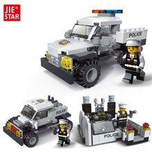 JIE-STAR Police Pickup Truck 3 Kinds Deformations City Police Building Block Toys for Children Boys DIY Police Block Toy 20026