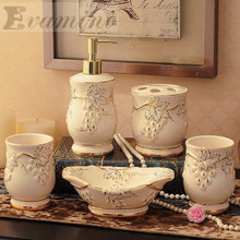 Luxury 5pcs/set Household Wash brush cup, Liquid Soap Dispensers, Soap Dishes China Ceramics bathroom set accessories