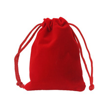 1pc/bag 8*10cm Gift Bags Jewelry Pouches Red Velvet Drawstring Pouch Bag(China)