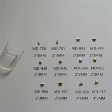 MD-750-959 3D 200pcs/bag Nail Decoration Small Different Metal Gold and Silver Long Triangle Heart Star Triangle Decoration