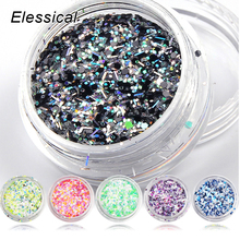 ELESSICAL 6Bottles Holographic Nail Polish Glitter Sequins Acrylic Powders Nail Art Decoration For Nails Manicure Tool WY940