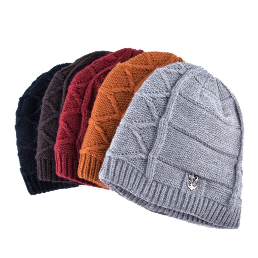 Double Labeling Men Winter Hats Beanie Women Texture Knitting Warm Bonnet add Velvet Beanies Men Knitted Caps Hat TMD26@Black