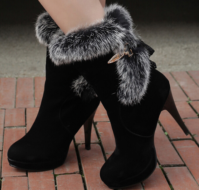 2014 New Fashion Tide Shoes  Womens Boots Fur One Piece  Rabbit fur boots Keep Warm Martin Boots Snow Boots  Female Shoes  AA9<br><br>Aliexpress