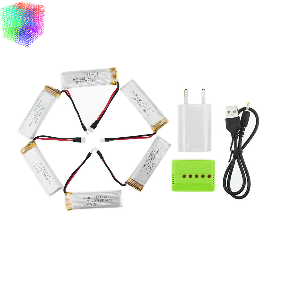 3.7v 550mah 6pcs lipo batteries and charger with plug for wltoys v977 v930 rc Helicopter drone spare part jjrc H37 battery<br><br>Aliexpress