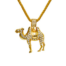 Punk style Bling Micro Rhinestone Camel Pendants Necklaces Golden Men Women Iced out Charm Chains Crystal Jewelry Gifts(China)