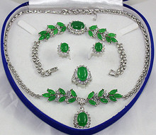 Noble Bridal wedding Jewelry Silver plated  green  Jades Tiger eye stone Turquoises  Jewelry Set