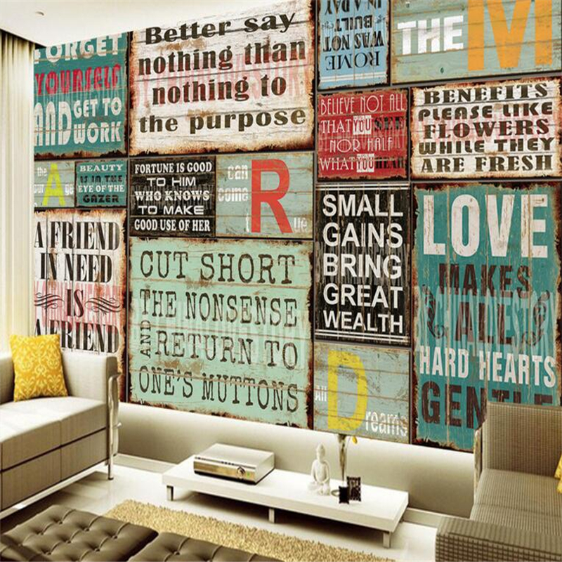 European and American style retro wall lettering fresco 3D living bedroom wall murals home decoration wallpaper papel de parede<br><br>Aliexpress