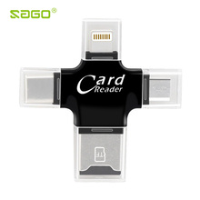 4 in 1 Card Reader Type C Micro usb adapter Micro SD Card Reader Lightning Card Reader for iPhone 8/ iPad Smart OTG Card Reader(China)
