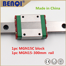 free shipping 15mm linear connector block / carriage MGN15C + rail MGN15-300mm miniature linear guideways with a low price