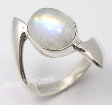 Pure Silver BLUE FLASH RAINBOW MOONSTONE MEN'S Ring Any Size BIRTHDAY GIFT