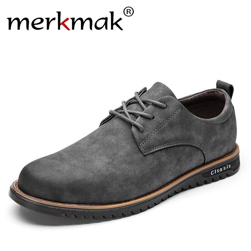Merkmak Brand Design Microfiber Leather Mens Leisure Shoes Retro Fashion Casual Flat Shoes for Man Business Office Suit Footwear<br>
